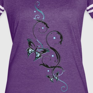 Filigree butterfly in blue and black - Women's Vintage Sport T-Shirt