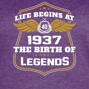 Life Beigns At 1937 The Birth Of Legends - Women's Vintage Sport T-Shirt