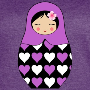 Purple Matryoshka doll with hearts - Women's Vintage Sport T-Shirt