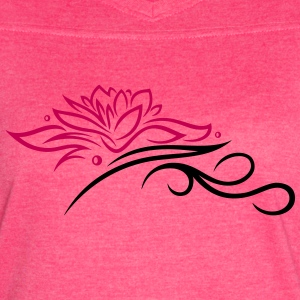 Large lotus flower with small tribal. - Women's Vintage Sport T-Shirt