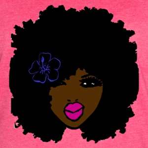 Brownskin Curly Natural Hair Flower Pink Lips - Women's Vintage Sport T-Shirt