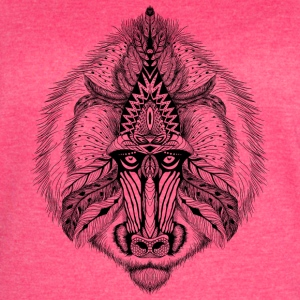 Black Textured baboon in aztec style clothing - Women's Vintage Sport T-Shirt