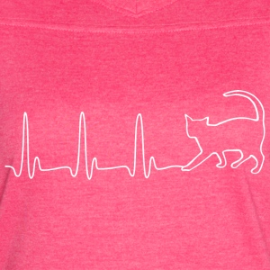 EKG HEARTBEAT CAT white - Women's Vintage Sport T-Shirt