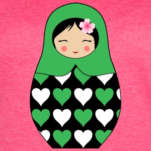 Green Matryoshka doll with hearts - Women's Vintage Sport T-Shirt
