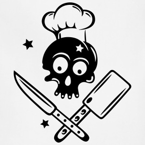 Skull with cooking hat, knives and stars. - Adjustable Apron
