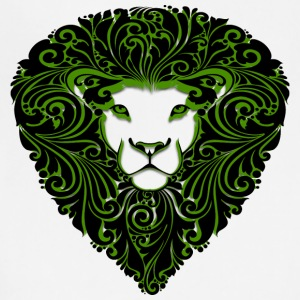 lion_with_ornament_hairs_black_green - Adjustable Apron