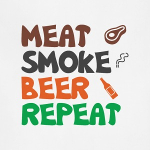 Meat Smoke Beer Repeat Tee Shirt - Adjustable Apron