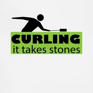 Curling It Takes stones Funny Curler Tee Shirt - Adjustable Apron