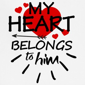 My heart belongs to him (black text) - Adjustable Apron