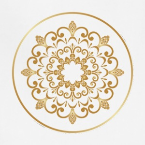 Plates with golden floral ornaments vector 04 - Adjustable Apron