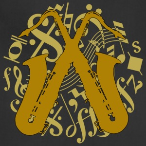 crossed saxophones on music notes - Adjustable Apron