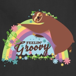 Retro rainbow funny sloth feelin groovy - Adjustable Apron