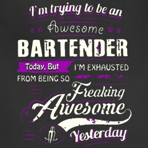 Awesome Bartender T Shirt - Adjustable Apron