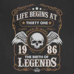 Life Begins At 1986 31 Years Old Birthday T-Shirt - Adjustable Apron