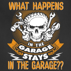 What Happens In The Garage Mechanic T Shirt - Adjustable Apron