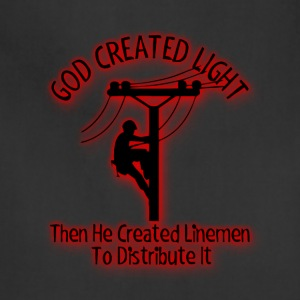 God Created Light - Funny Lineman Bible Design - Adjustable Apron