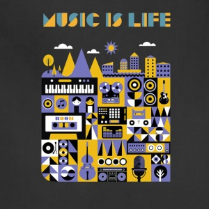 music is life shirt - Adjustable Apron