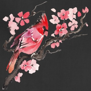 Sakura flower bird watecolor vector image cool - Adjustable Apron