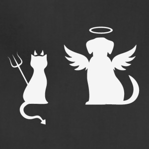 Devilish Cat And Angelic Dog White - Adjustable Apron
