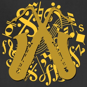 golden saxophones on music notes - Adjustable Apron
