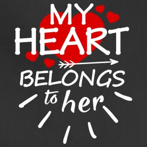 My heart belongs to her (white text) - Adjustable Apron