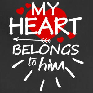 My heart belongs to him (white text) - Adjustable Apron