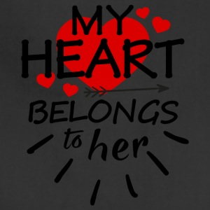 My heart belongs to her (black text) - Adjustable Apron