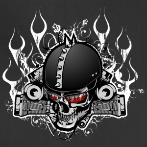 Biker_skull_with_flame - Adjustable Apron
