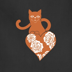 Valentine Cat with Heart and Roses - Adjustable Apron