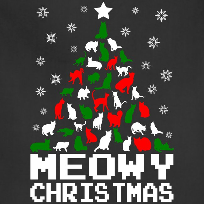 Meowy Christmas.Meowy Christmas Cat Tree Ugly Adjustable Apron