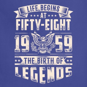 Life Begins At Fifty Eight Tshirt - Adjustable Apron