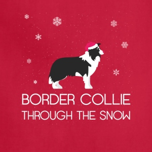 Border collie Through The Snow Christmas Tshirt - Adjustable Apron