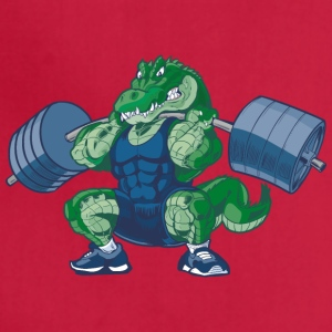 Weight-lifting-Alligator-Cartoon - Adjustable Apron