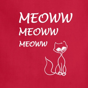 cat meoww white - Adjustable Apron