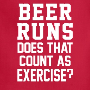 Beer Runs Does That Count As Exercise Funny - Adjustable Apron