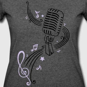 Retro microphone with music notes and clef. - Women's 50/50 T-Shirt