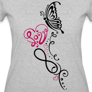 Heart with lettering, butterfly and infinity - Women's 50/50 T-Shirt