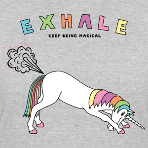 Down Dog Unicorn Exhale Outline - Women's 50/50 T-Shirt