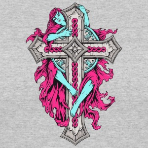 girl_embracing_cross_pink - Women's 50/50 T-Shirt