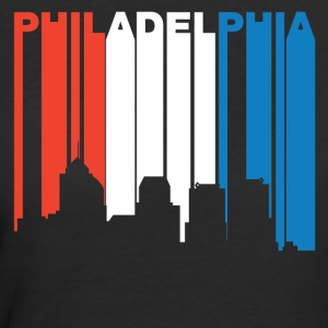 Red White Blue Philadelphia Pennsylvania Skyline - Women's 50/50 T-Shirt