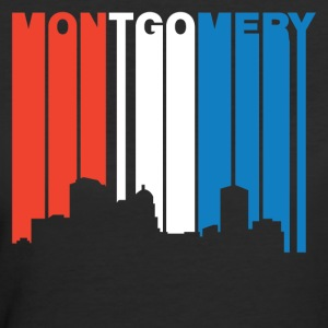 Red White And Blue Montgomery Alabama Skyline - Women's 50/50 T-Shirt