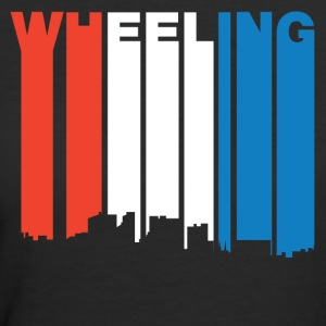 Red White And Blue Wheeling West Virginia Skyline - Women's 50/50 T-Shirt