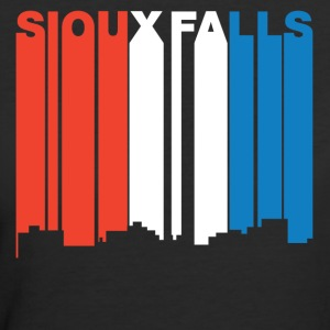 Red White Blue Sioux Falls South Dakota Skyline - Women's 50/50 T-Shirt