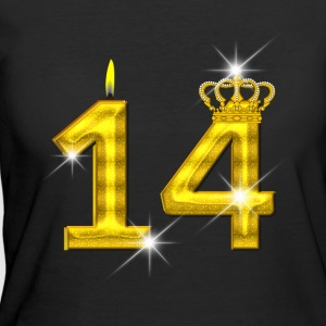14 - Birthday - Golden Number - Crown - Flame - Women's 50/50 T-Shirt