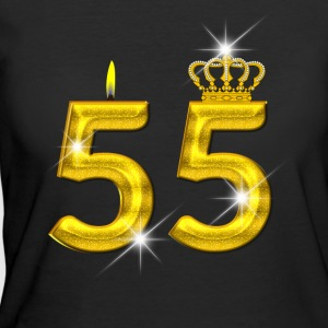 55 - Birthday - Golden Number - Crown - Flame - Women's 50/50 T-Shirt