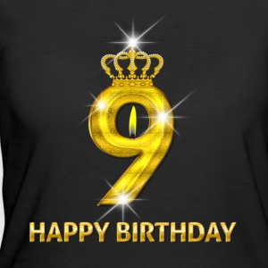 9 - Happy Birthday - Golden Number - Women's 50/50 T-Shirt