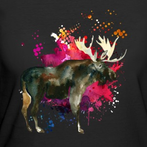 Moose Watercolor Tee Shirt - Women's 50/50 T-Shirt
