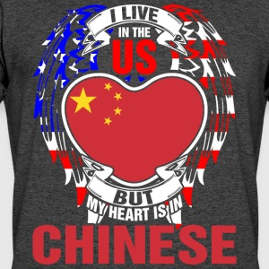 I Live In The Us But My Heart Is In Chinese - Men's 50/50 T-Shirt