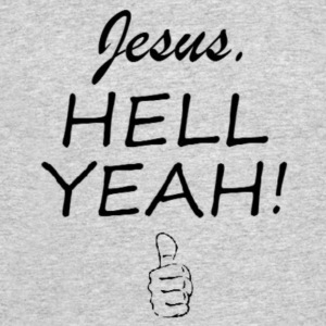 Jesus HELL Yeah Thumbs Up Black Lettering - Men's 50/50 T-Shirt