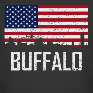 Buffalo New York Skyline American Flag Distressed - Men's 50/50 T-Shirt